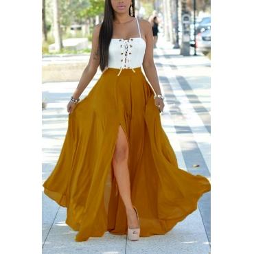 Lunghezza del vestito cinghia di spaghetti Euramerican maniche Patchwork Backless chiffon Beach caviglia