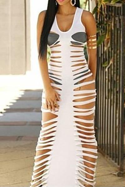 Sexy decote em V sem mangas oca-out Poliéster branco Bainha Ankle Comprimento do vestido