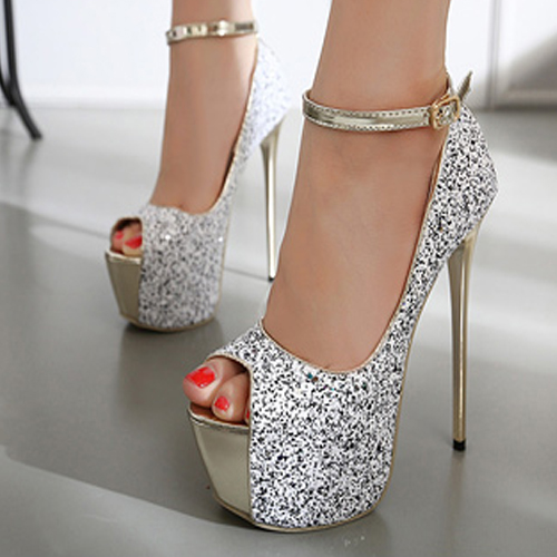 Stylish Round Peep Toe Platform Stiletto Super High Heel White Suede Ankle Strap Pumps