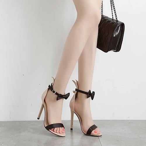Stylish Open Toe Bow-Tie Decorative Hollow-out Stiletto Super High Heel Black PU Ankle Strap Pumps