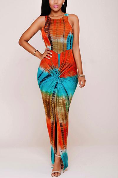 Bohemian Rodada Neck mangas plissadas Impresso Rayon Ankle Comprimento do vestido