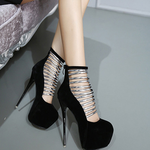 Stylish Round Closed Toe Metal Hollow-out Stiletto Super High Heel Black PU Basic Pumps