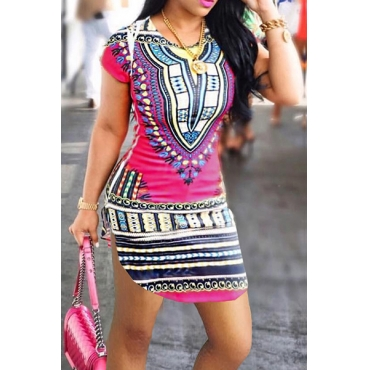 Ethnic Style Round Neck Short Sleeves Printed Qmilch Mini Dress
