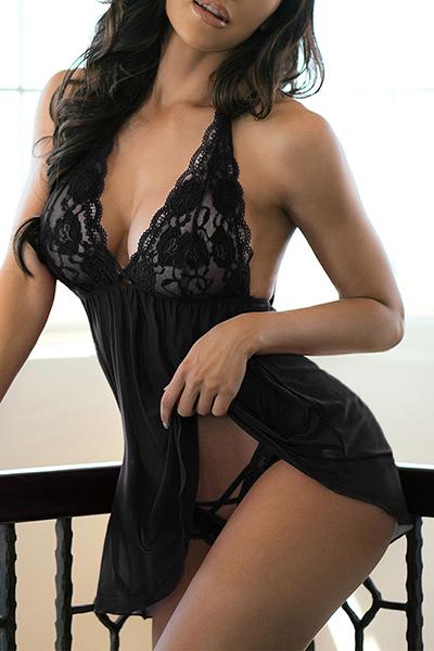 Sexy Pescoço V Backless See-Through poliéster preto Nightdress (Incluir Briefs)