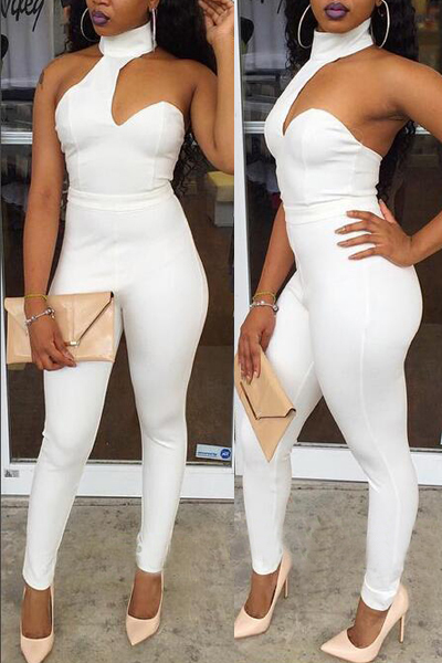 Sexy White One-piece Skinny Jumpsuits Round Neck Sleeveless ...