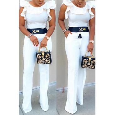 Stilvolle ärmel Falbala Design Weiß Qmilch einteilige dünne Jumpsuits (ohne Gurt)