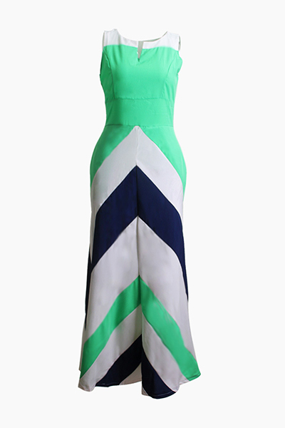 Bohemian V Neck Sleeveless Striped Printed Blue Polyester Ankle Length Dress