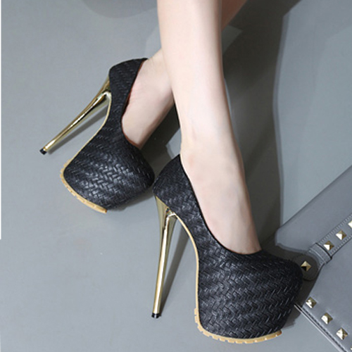 Stylish Round Closed Toe Stiletto Super High Heel Black Suede Basic Pumps