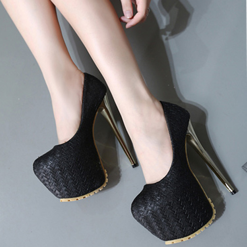 Stylish Round Closed Toe Stiletto Super High Heel Black Suede Basic Pumps