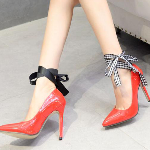 Fashion Pointed Closed Toe Bandage Stiletto Super High Heel Red PU Ankle Strap Pumps