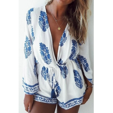 poppoly light as a feather printing plunging romper