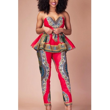 Ethnic Style V Neck Sleeveless Totem Printed Red Healthy Fabric One-piece Jumpsuit