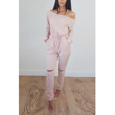 Contracted Style Bateau Neck Strapless Long Sleeves Broken Holes Pink Polyester One-piece Jumpsuits