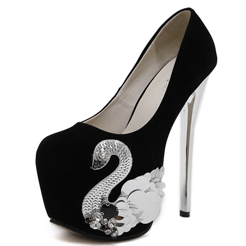 Fashion Round Closed Toe Swan Decorated Stiletto Super High Heel Black PU Basic Pumps