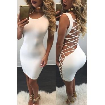 sexy col O manches gaine qmilch creux sur le dos blanc strappy mini robe
