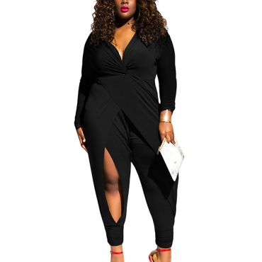Sexy V Neck Long Sleeves Twist Knot Slit Solid Black Polyester One-piece Jumpsuit(Plus Size)