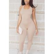 Leisure Round Neck Sleeveless Asymmetrical Khaki Qmilch One-piece Skinny Jumpsuits