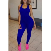 Leisure Round Neck Sleeveless Asymmetrical Royalblue Qmilch One-piece Skinny Jumpsuits