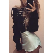 Casual  V Neck Long Sleeves Lace-up Black Polyester Cardigans