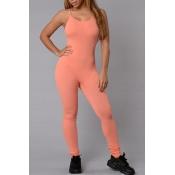 Simple Spaghetti Strap Sleeveless Orange Cotton Blends One-piece Skinny Jumpsuits