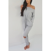 Contracted Style Bateau Neck Strapless Long Sleeves Broken Holes Grey Polyester One-piece Jumpsuits