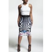 Stylish High Waist Zebra Printed Polyester Sheath Knee Length Skirts(Without Belt)