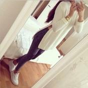 Fashion Round Neck Long Sleeves Side Slits White Blending Pullover