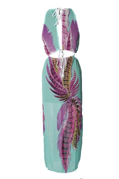 Sexy вокруг шеи без рукавов Печатный Асимметричный синий шифон голеностопного Длина платья