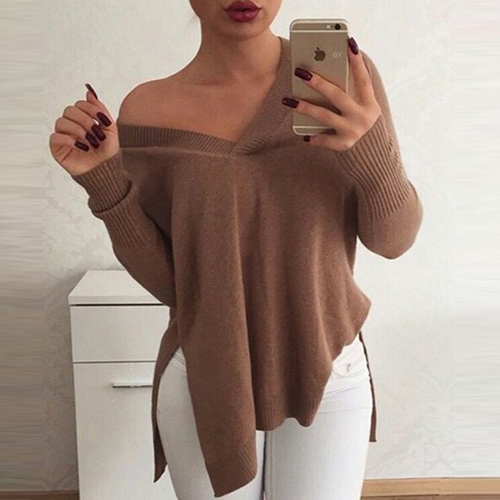 Leisure V Neck Long Sleeves Asymmetrical Khaki Acrylic Sweaters