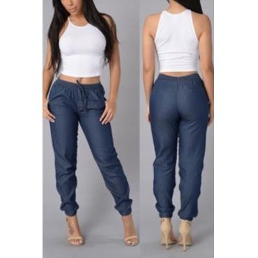 Stylish Elastic Waist Drawstring Dark Blue Cotton Pants
