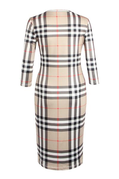 Стильный круглый шею три четверти рукава пледы из полиэстера оболочки длины колена платье