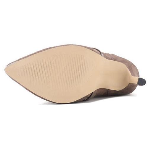 na moda dedo apontado pele projeto stiletto super high heel khaki camurça meados botas de bezerro