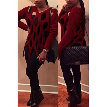 модный шею длинные рукава полым из красного акриловый свитер