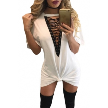 Sexy Deep V Neck Half Sleeves Hollow-out White Polyester Mini Dress