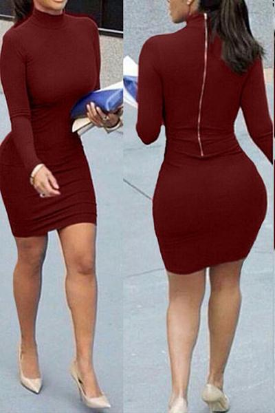 manches longues contracté mandarin col de style zipper vin design coton rouge gaine de mélange mini robe