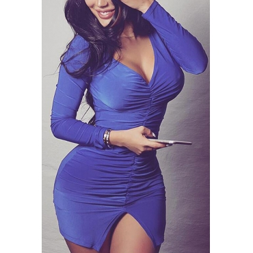 Sexy V Neck Long Sleeves Drape Design Blue Qmilch Mini Dress