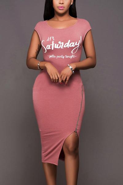 Leisure Round Neck Sleeveless Zipper Design Pink Cotton Sheath Knee Length Dress