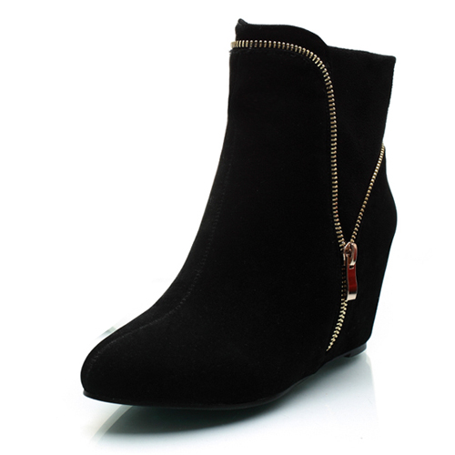 Trendy Pointed Closed Toe Zipper Design High Heel Black Suede Ankle Boots