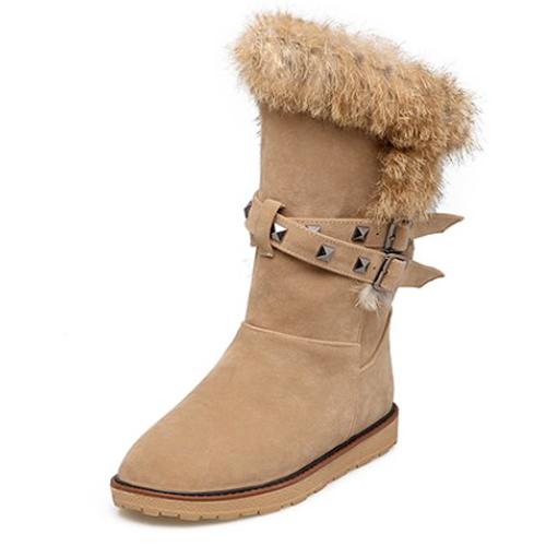 Moda de punta redonda de diseño de piel plana bajo talón Brown PU corta botas de nieve
