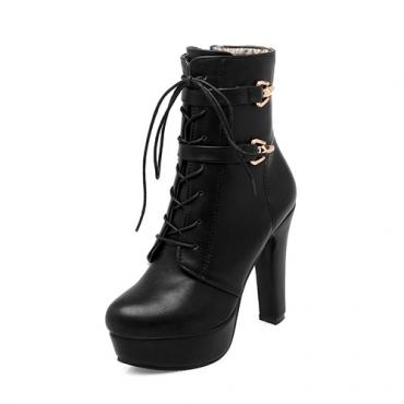 elegante rodada toe com cordões grossos de super salto alto pretos botas curtas PU