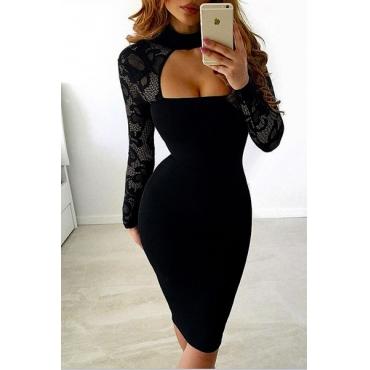 Sexy Long Sleeves Hollow-out Black Bud Silk Sheath Knee Length Dress