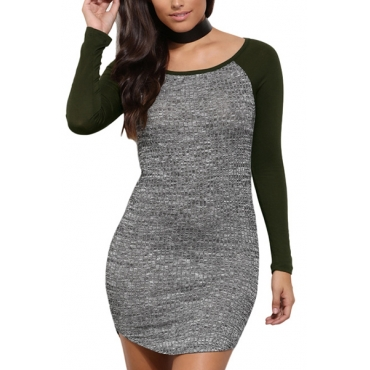 Euramerican Round Neck Long Sleeves Patchwork Deep Green Polyester Mini Dress
