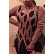 Trendy Round Neck Long Sleeves Hollow-out Pink Acrylic Sweater