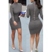 manches longues contracté mandarin col de style conception zipper coton gris gaine de mélange mini robe