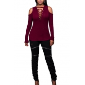 Sexy Deep V Neck Long Sleeves Hollow-out Wine Red Qmilch Blouses