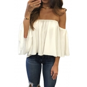 Stylish Bateau Neck Half Sleeves Falbala Design White Chiffon Blousing Blouse