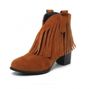 Stylish Round Toe Tassel Design Chunky High Heel Yellow Suede Ankle Boots