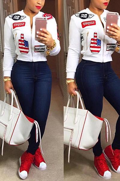 Stylish Mandarin Collar Long Sleeves Collage Design White Cotton Coat