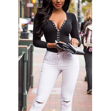 Euramerican V Neck Long Sleeves Black Acrylic Shirts