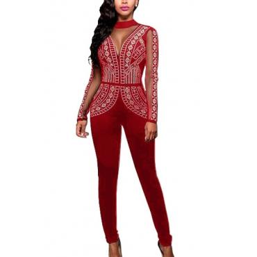 Sexy Euramerican Mandarin Collar Gauze Patchwork Red Cotton One-piece Skinny Jumpsuits